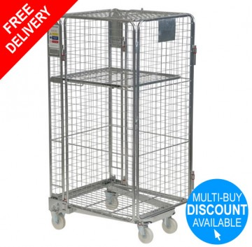 Budget Full Security Roll Container Nestable + Integral Shelf