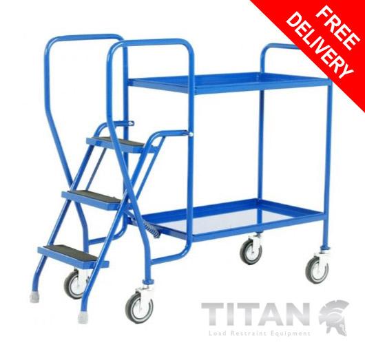 3 Step Tray Trolley - 2 Fixed Blue Trays 125kg Capacity