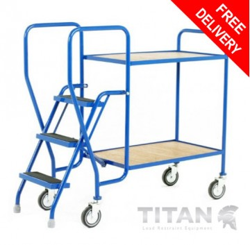 3 Step Tray Trolley - 2 Fixed Plywood Trays 125kg Capacity
