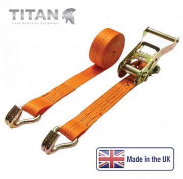 2000kg Ratchet Strap Claw Hooks 4Metres - Orange