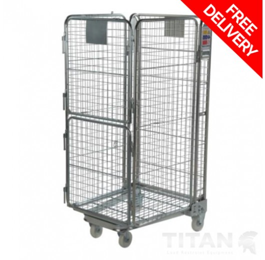 Split Gate Roll Container Nestable - Standard Mesh