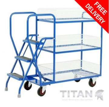 Heavy Duty 3 Step Tray Trolley - 3 Removable Baskets 175kg Capacity