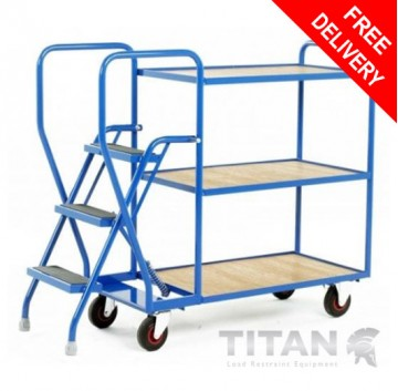 Heavy duty 3 Step Tray Trolley - 3 Plywood Tiers 175kg Capacity