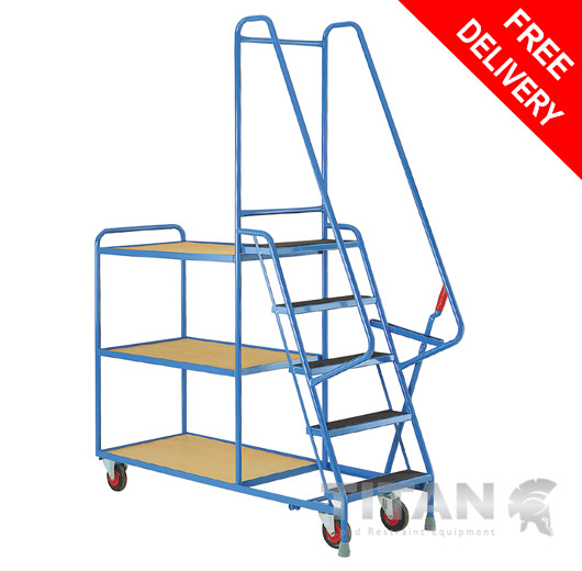 Heavy Duty 5 Step Tray Trolley with 3 Fixed Plywood Shelves