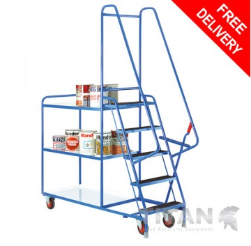Heavy Duty 5 Step Tray Trolley with 3 Reversible White Trays