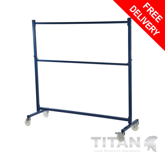 Heavy Duty Garment Rail Trolley (Industrial) Blue