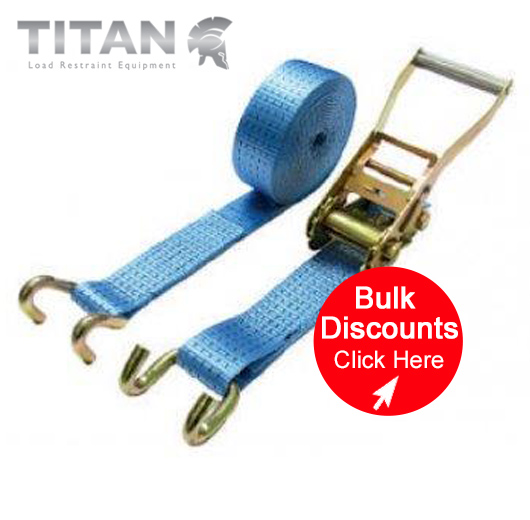 5000kg Ratchet Strap Chassis Hooks 15Metres