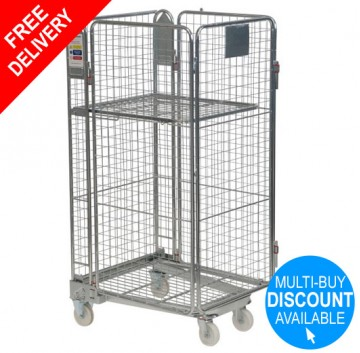 4 Sided Nestable Roll Container + Integral Shelf