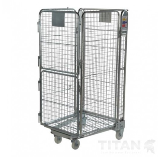 Premium 4 Sided Mesh Infill Twin Door + Shelf, Rubber Wheels & Brakes