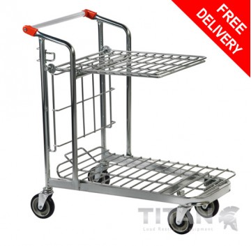 Cash & Carry/Stock Trolley with Folding Shelf – Nestable