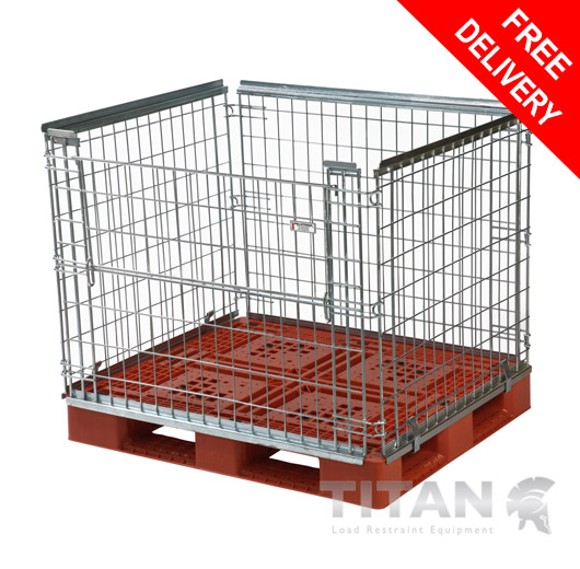Pallet Cage (Stackable) – Half Gate Access