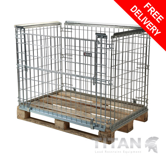 Euro Pallet Cage (Stackable) - Half Gate Access