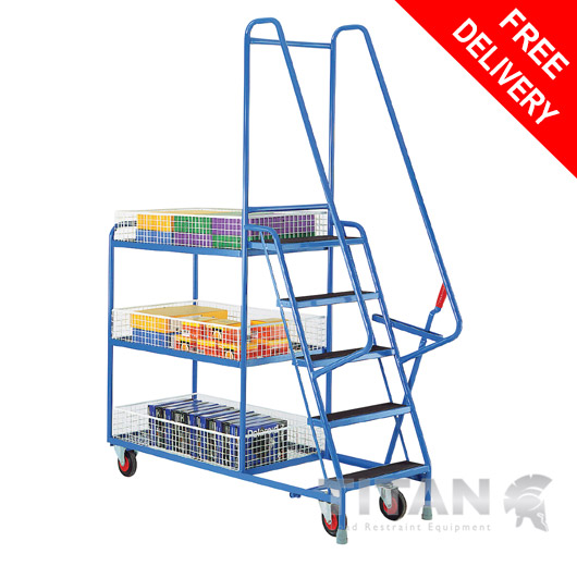 Heavy Duty 5 Step Tray Trolley with 3 Removable Baskets