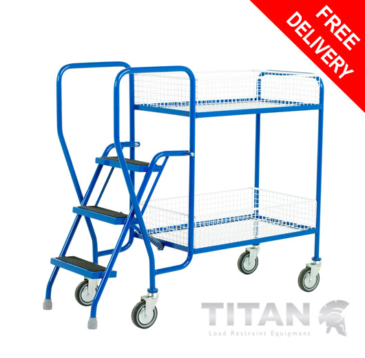 3 Step Tray Trolley - 2 Removable Baskets 125kg Capacity