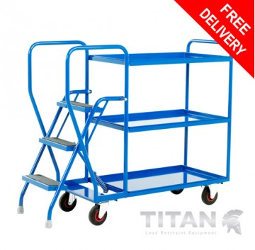 Heavy Duty 3 Step Tray Trolley - 3 Fixed Blue Trays 175kg Capacity