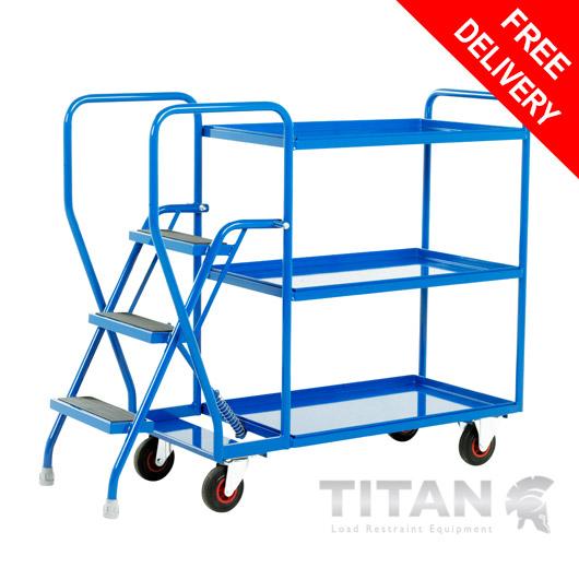 Heavy Duty 3 Step Tray Trolley - 3 Fixed Blue Trays 175kg Capacity