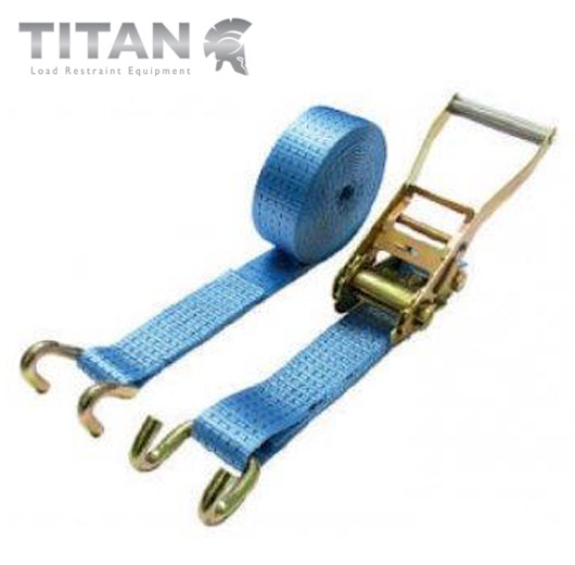 Pair 5 Tonne 10 Metre Ratchet Strap with Claw Hooks Blue